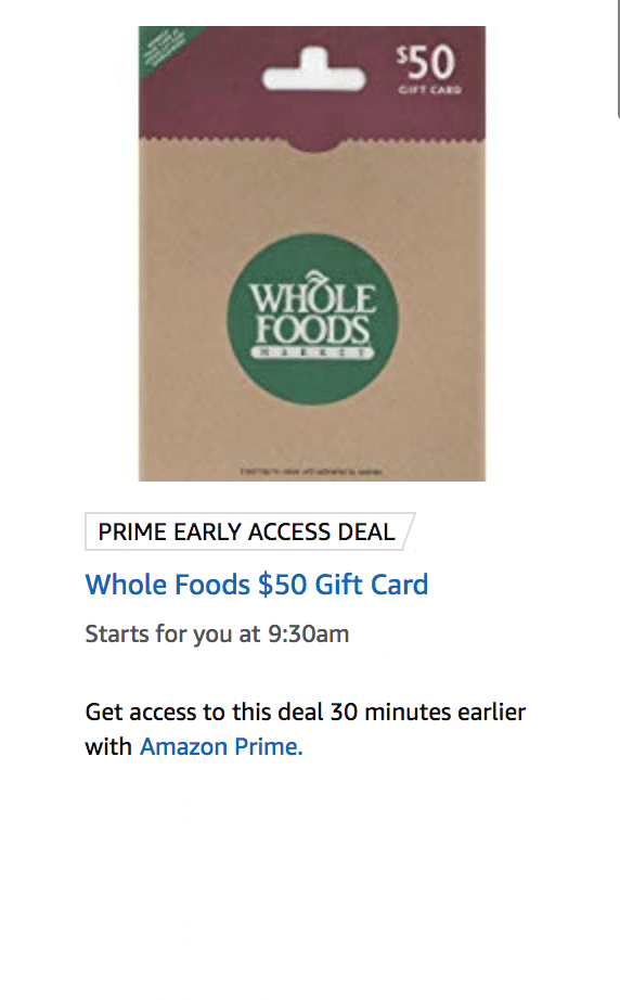 Amazon Upcoming Lightning Deal 10 24 18 50 Whole Foods Gift Card For 40 Whole Foods Gift Card Whole Food Recipes Gift Card