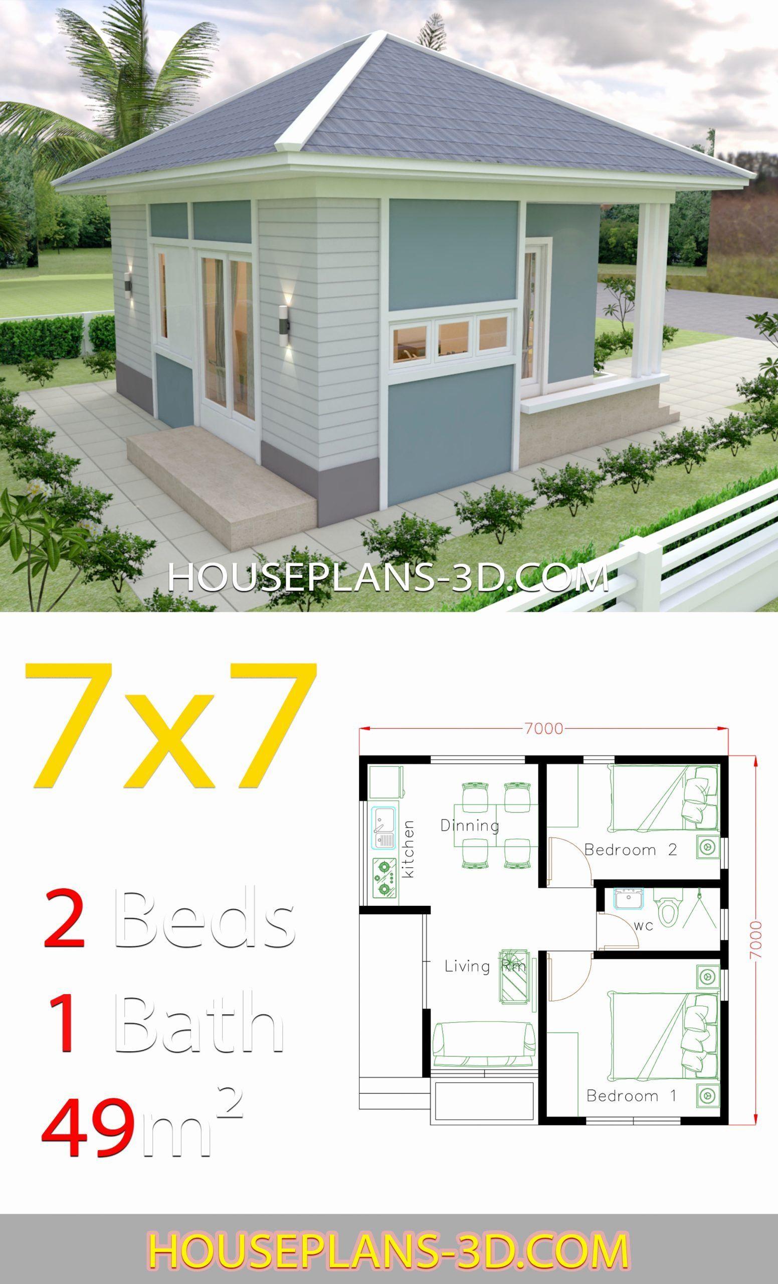 2 Bedroom House Plans 3d Unique House Design 7x7 With 2 Bedrooms Full Plans House Plans House Design Small House Design