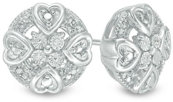 Zales Diamond Accent Mini Heart Frame Stud Earrings in Sterling Silver vCYhlF