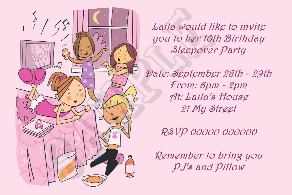 Free Printable Slumber Party Birthday Invitations | Slumber party ...