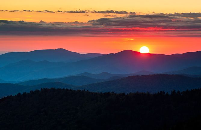 Clingmans Dome Sunset Great Smoky Mountains Landscape