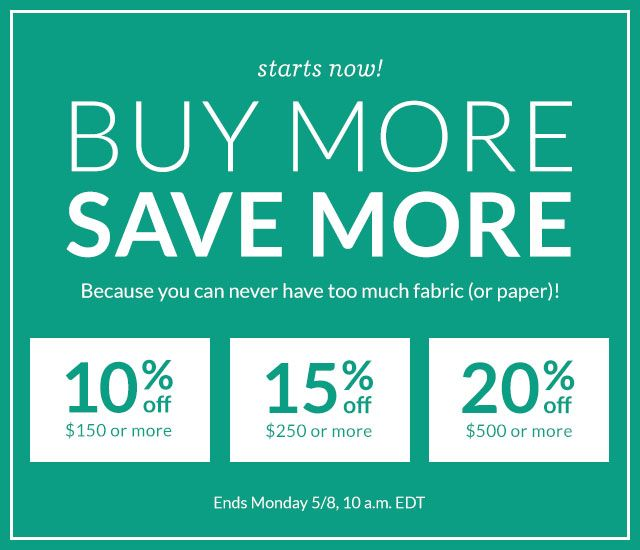 Buy more, save more! 10% off $150 or more | 15% off $250 or more | 20% off $500 or more