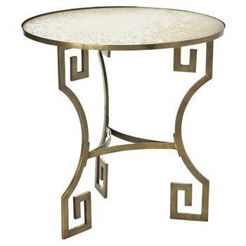 Arteriors Dunmoore Greek Key Brass Mirror Side Table By Arteriors