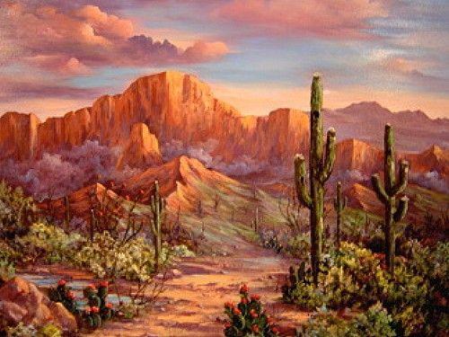 Desert Sunsets Southwest Paintings Arizona Landscapes By Monna Barrick Desert Landscape Painting Arizona Landscape Desert Sunset Painting