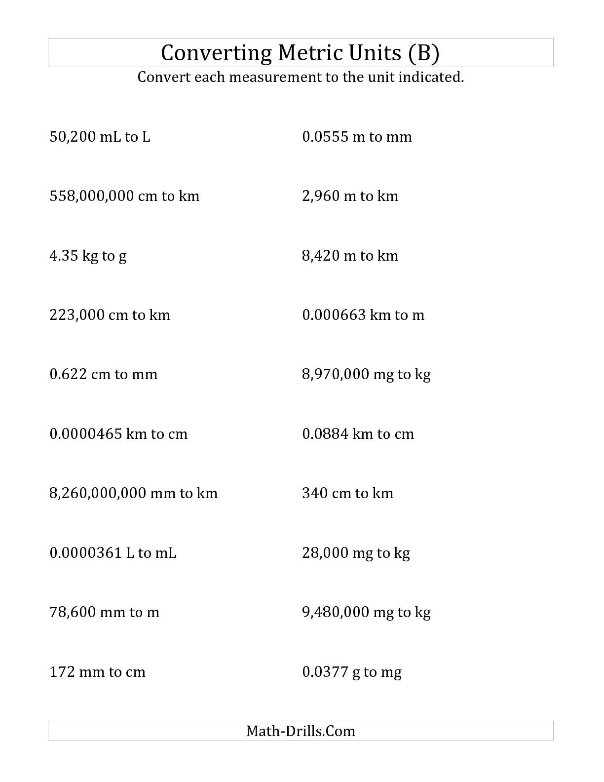small resolution of The Metric Conversion All Length