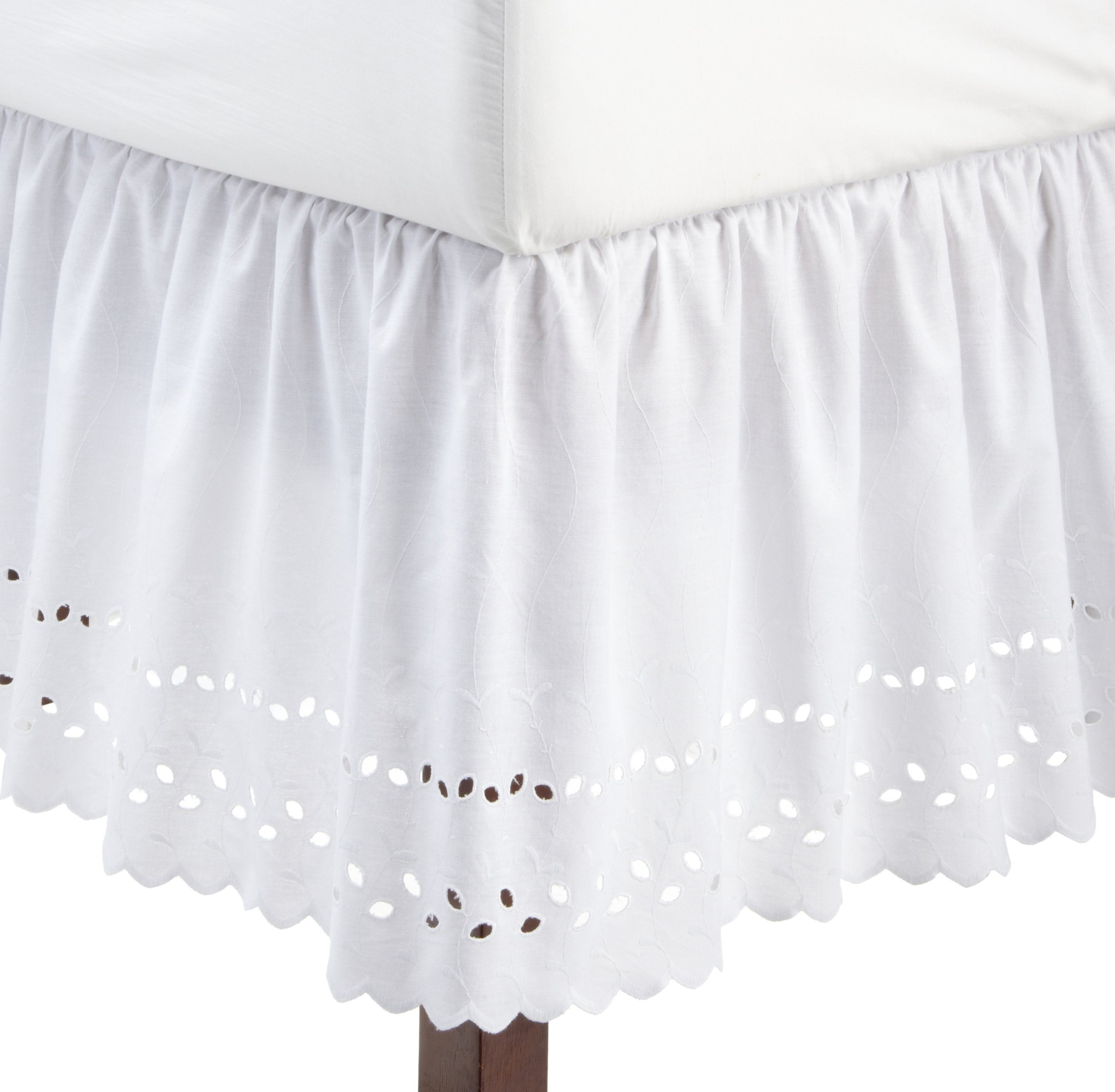 "Twin Size White Eyelet Bedskirt 14/"" Drop by Top Care"