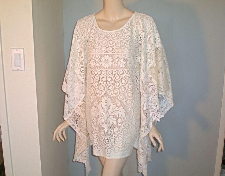 Plus Size White Crochet Dress | White kaftan Hippie boho ...