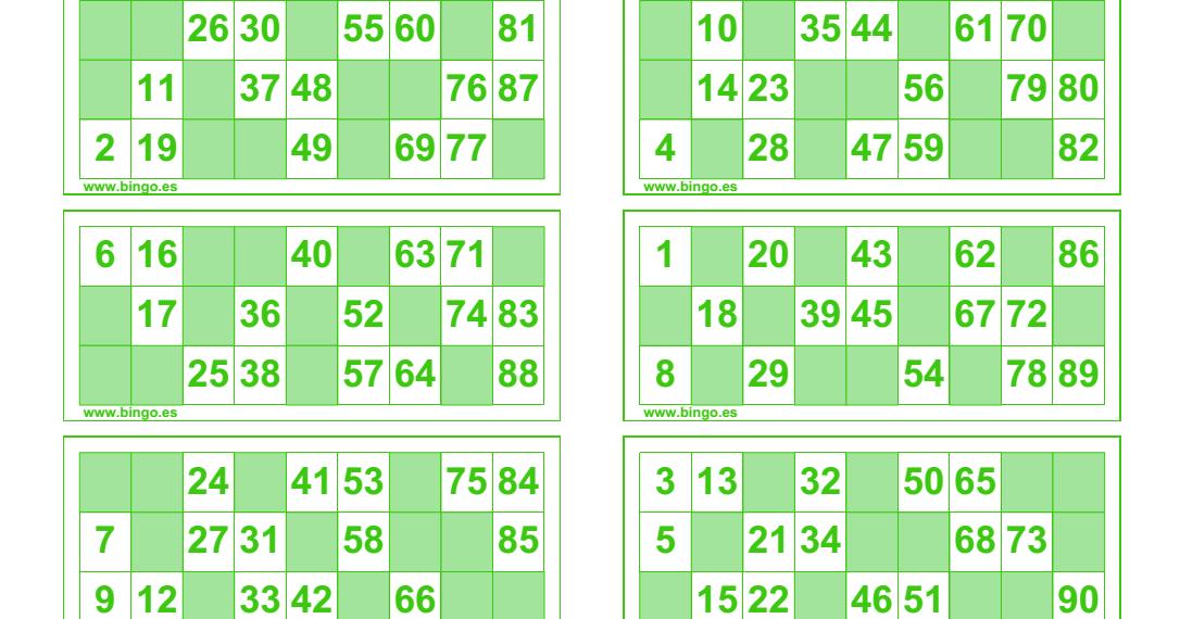 Imprimir Cartones De Bingo El Generador De Bingo Es Una Aplicacion