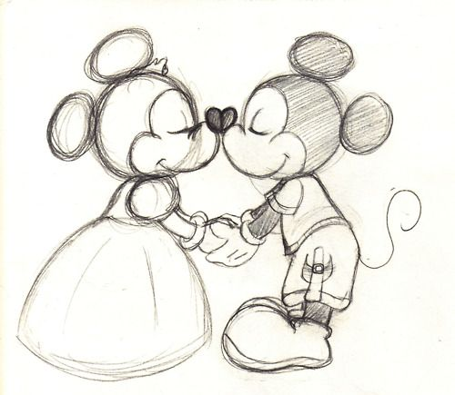 Mickey Mouse And Minnie Mouse Kissing Drawing