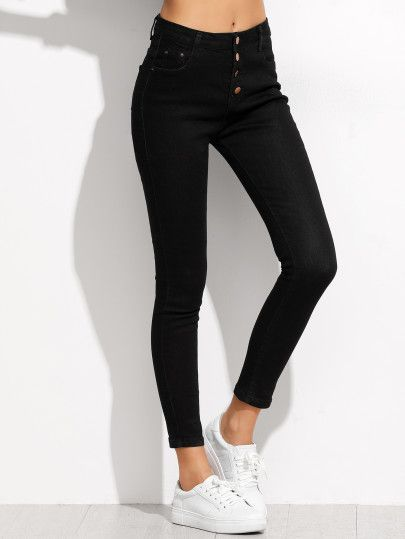 Jeans moulants avec boutons - noir  2064bf29adc