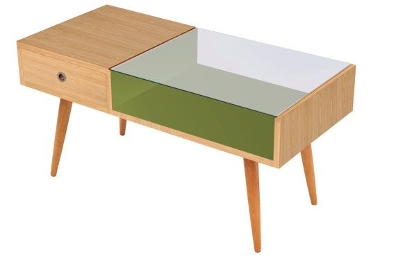 T90 Coffee Table Double Sided Drawers In Wood And Laminate Retro Mid Century Side Table Retro Coffee Tables Table Glass Top Coffee Table