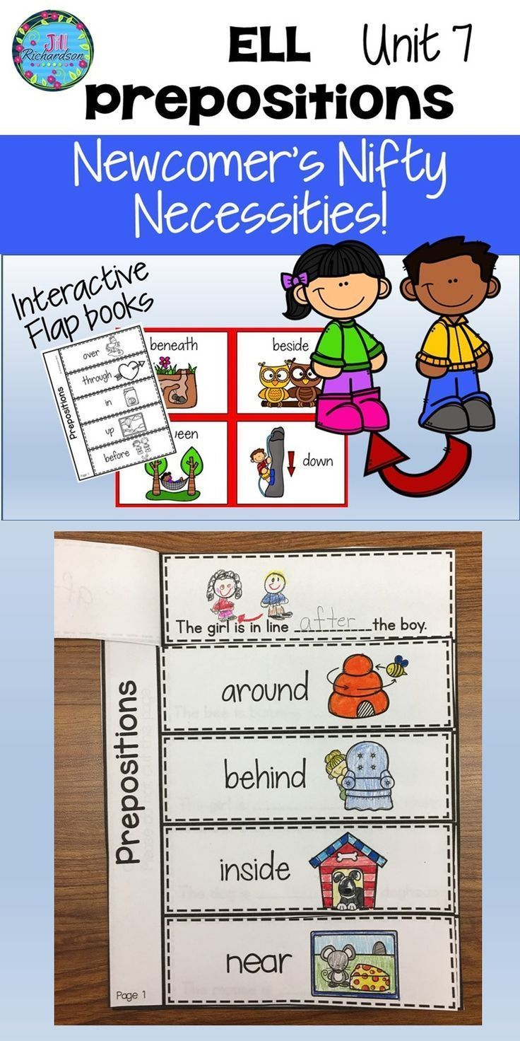 ESL Vocabulary for ESL Prepositions Unit 7 ELL