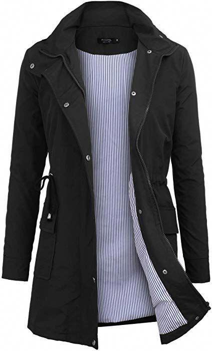 ed1955114af Amazon.com: FISOUL Windbreaker Raincoats Waterproof Lightweight Rain Jacket  Outdoor Hooded Women's Trench Coats S-XXL: Clothing size small black # ...