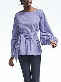 @bananarepublic Gingham Tiered-Sleeve Belted Shirt