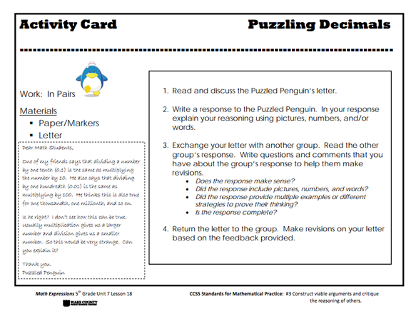 Here's a 5th grade task card for working on Mathematical