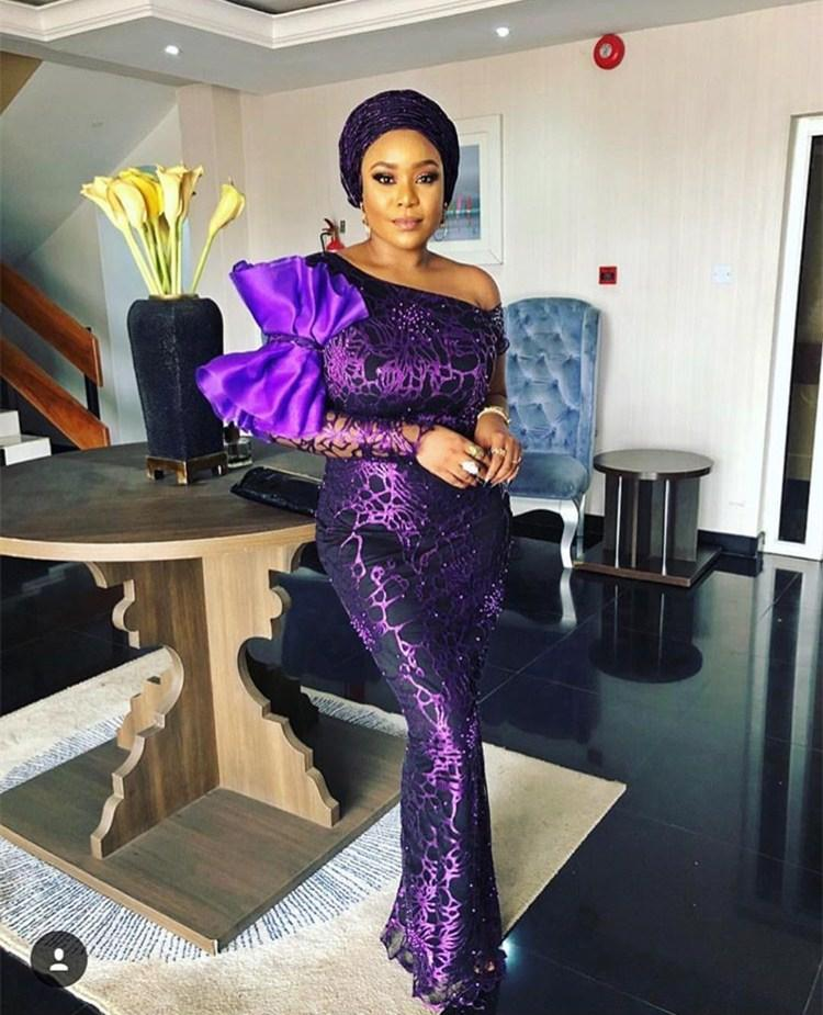 2018 Nigerian net material purple French lace fabric, bride wedding African sequins lace fabric high quality #nigeriandressstyles