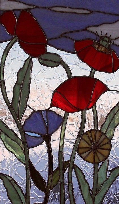 """Картины цветов ручной работы. Ярмарка Мастеров - ручная работа. Купить Панно """"Маки"""". Handmade. Полевые цветы, цветное стекло"""