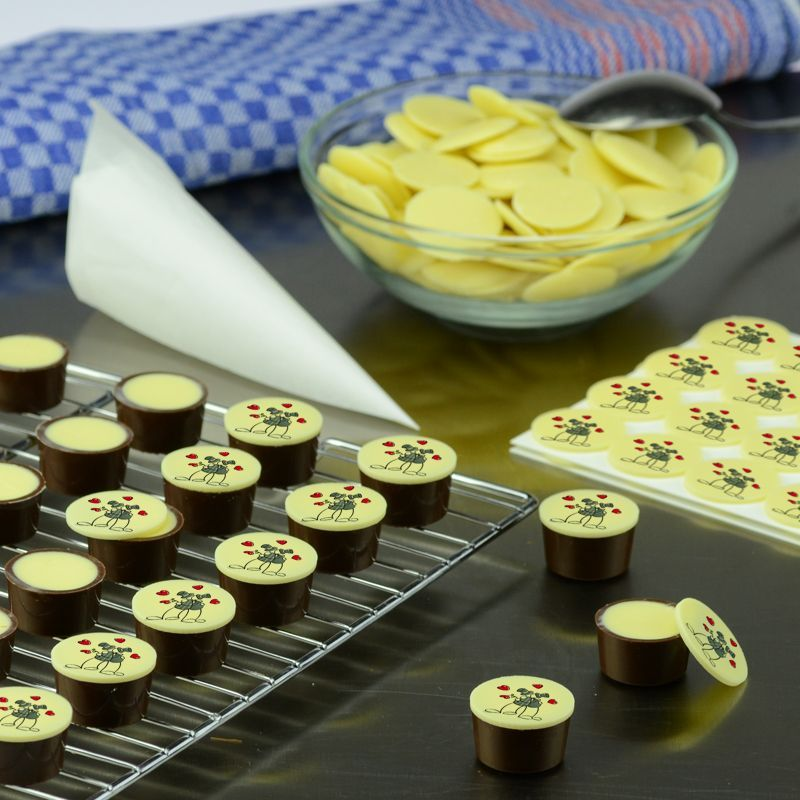 Schokoladenaufleger, 30mm rund (weiße Schokolade)