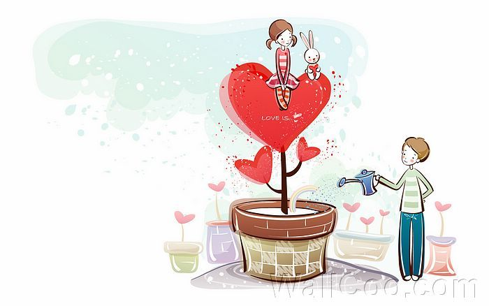 Young Love Valentine Cute Couple Illustrations Love Tree