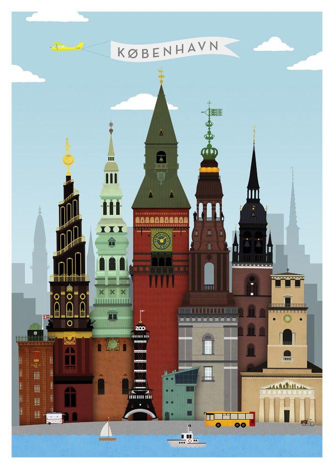 Copenhagen Denmark Danish City View Church Fine Vintage Poster Repo FREE S//H