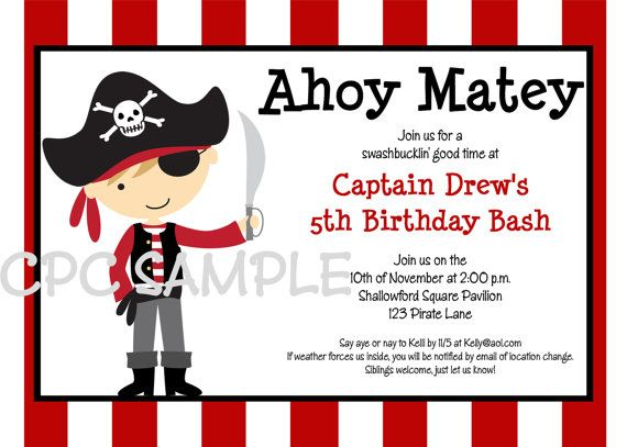 pirate birthday invitation printable or printed boy girl pirate