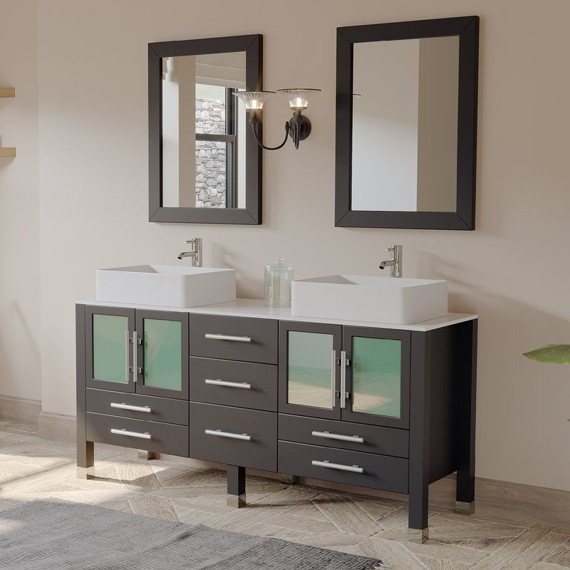 Aspen 64 Double Bathroom Vanity Set With Mirror Vanity Set With