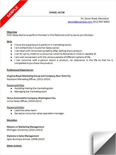 Marketing Sales Resume Sample Resume Examples Pinterest - sample of sales resume