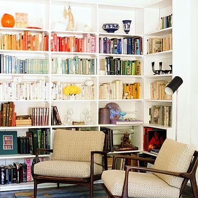 love the idea of a color coded bookshelf