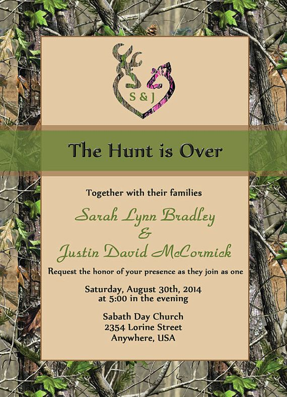 The Hunt Is Over Wedding Invitation Sets Camo Deer Heart With Initials Green Hunter Hunting