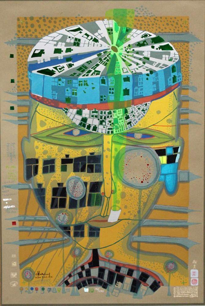 """Hundertwasser, Friedensreich (1928 Wien - vor Neuseeland 2000) """"one of five seamen"""". Farbserigraphie — Graphik"""