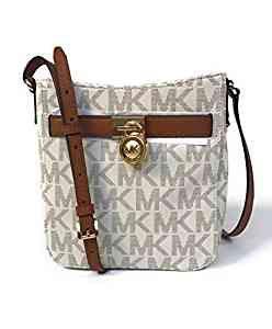 76f9a5a335bed7 Michael Kors Signature PVC Hamilton Traveler Crossbody Bag Vanilla/Luggage