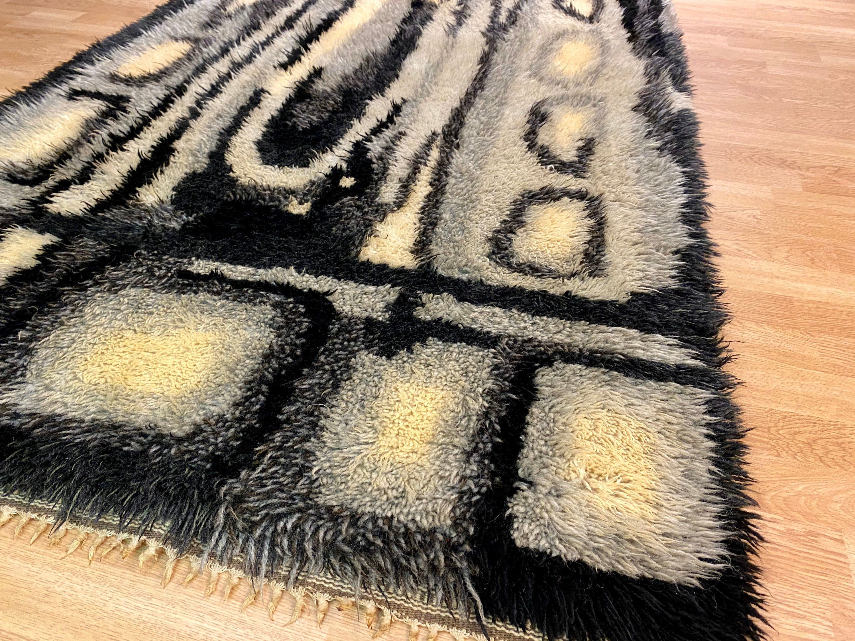 Photo of Modern vintage wool rya rug Scandinavian Rug Mid century modern abstract rug 6.95″ x 3.67″