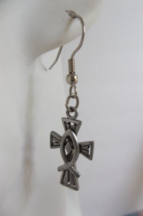 Cross With Christian Fish Symbol Earrings In Silvertone Pewter