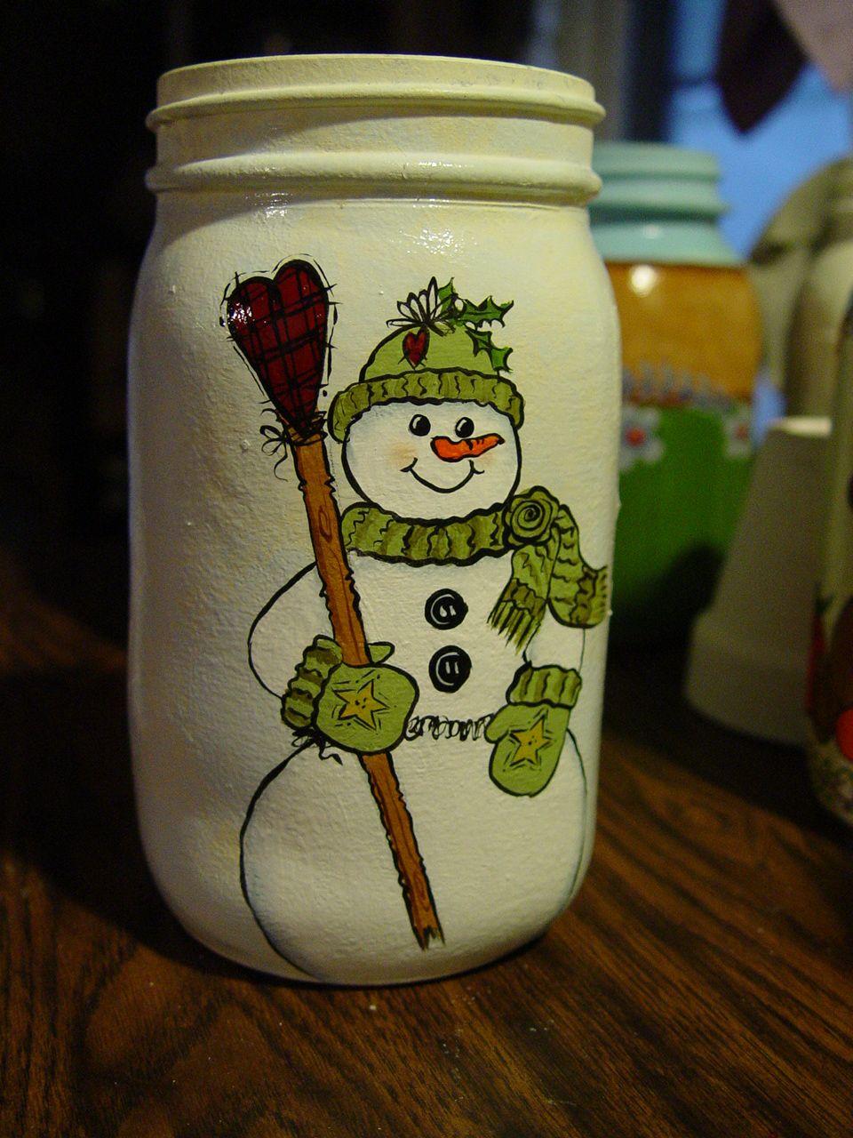 Love snowmen mason jar holiday christmas pinterest snowman