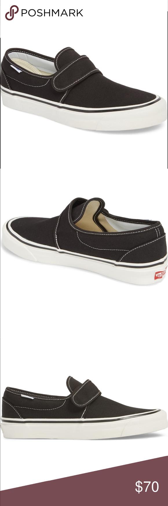 Vans Black SlipOns with Velcro Strap Vans Black SlipOns