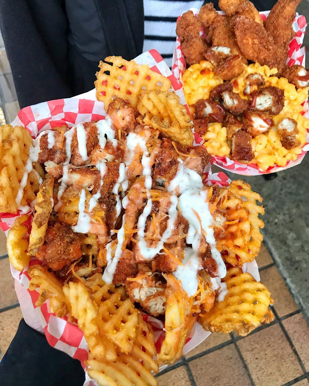 Chicken and fries waffle fries fries waffles