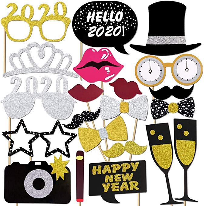 New Years Photo Booth Props Pack of 20, Real