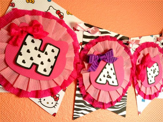 Hello Kitty Zebra Print birthday banner! Available from ThePerfectionista on Etsy