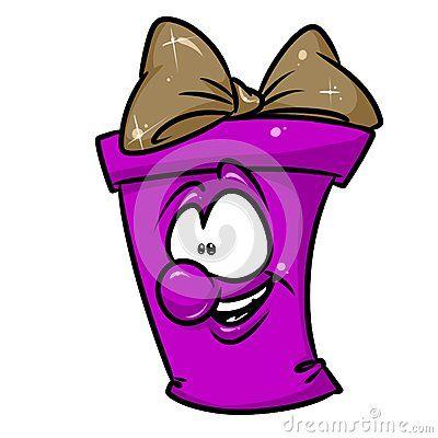 Purple joyful gift cartoon illustration isolated image