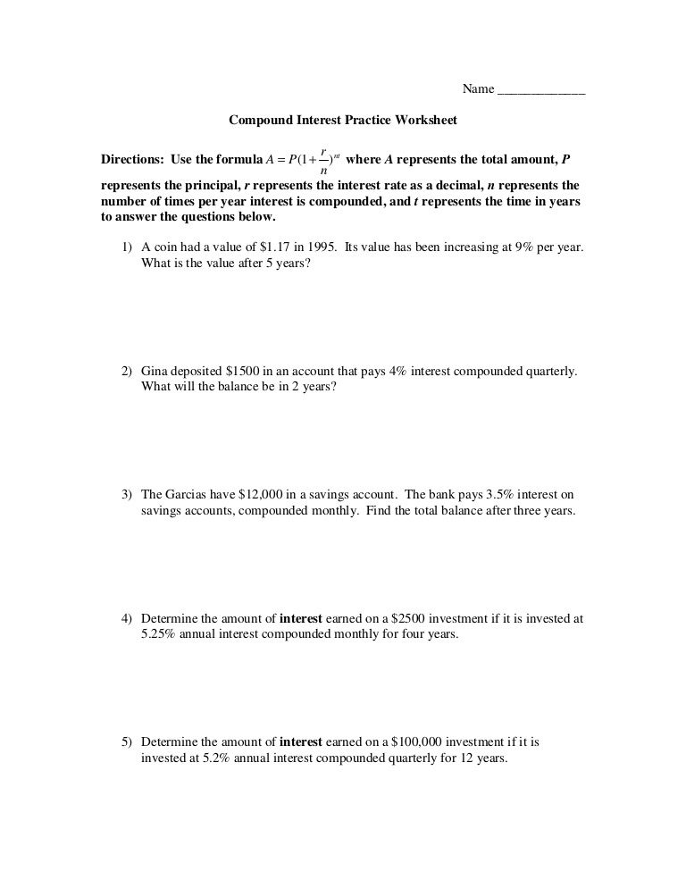 Savings Accounts Compound Interest Worksheets Answers