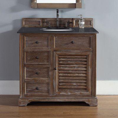 Savannah 36 Inch Bathroom Vanity In Driftwood Finish Carrara White Stone Marble Top With Backsplash Undermount Sink