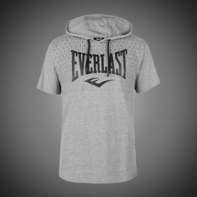 Lehké pánské tričko Everlast Geo grey s krátkým rukávem a kapucí. Klokaní  kapsa. Velké logo Everlast přes hrudník. Stylové pohodlné tričko. 1bc7b4d72f