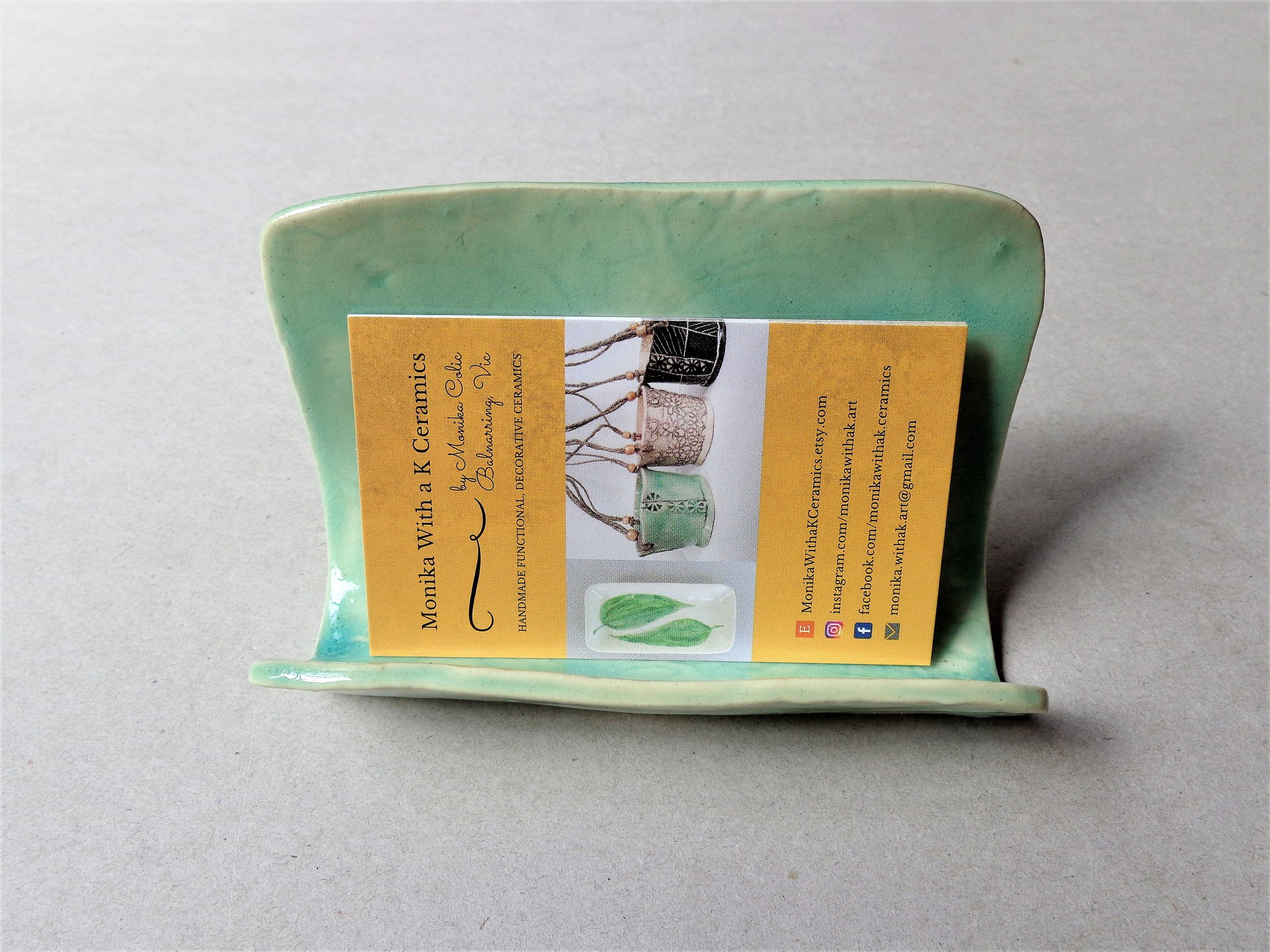 Turquoise ceramic business card holder, pottery napkin mobile phone ...