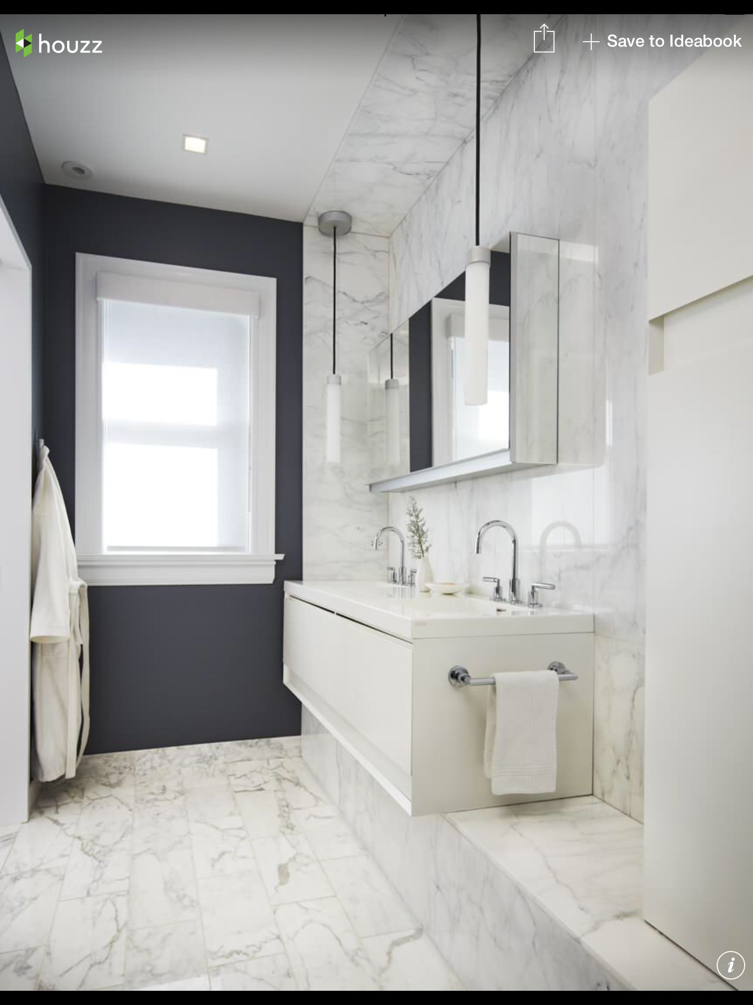 Marble floor and wall tiles, charcoal paint. Houzz. | Bathrooms ...