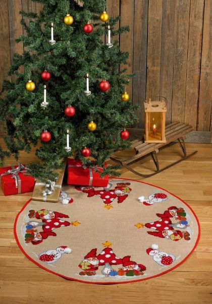 Elves and Snowman Tree Skirt - Cross Stitch Kit