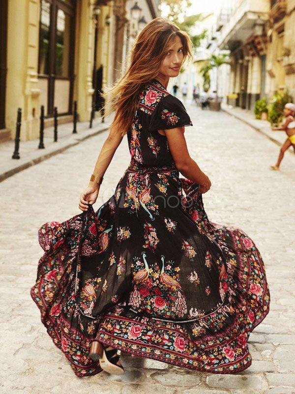Boho Maxi Dress V Neck Short Sleeve High Split Front Long Dress ...