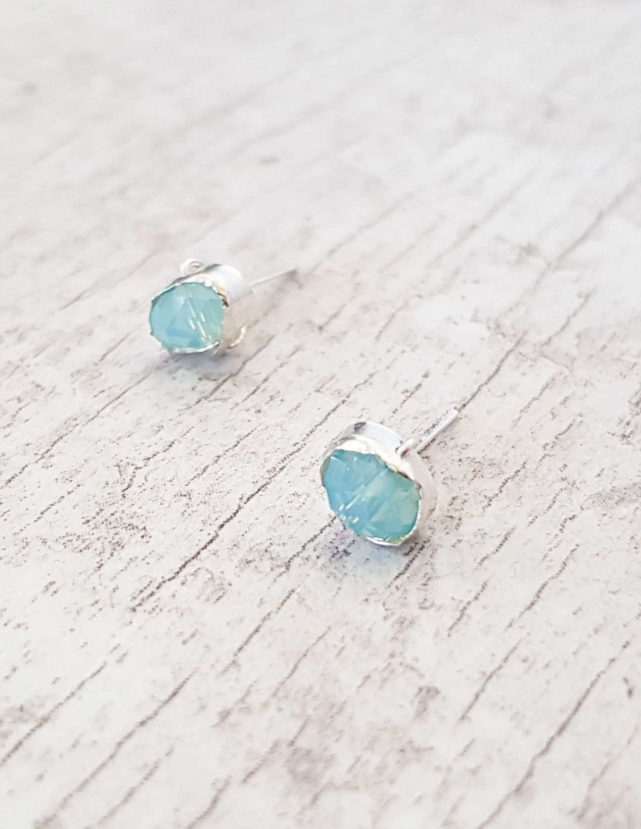 ee0491f1e Aqua Blue Studs, Chalcedony Earrings, Dainty Studs Earrings, Sterling  Silver 925, Rose Gold Filled Earrings, Aqua Blue Earrings, Blue Stone Studs