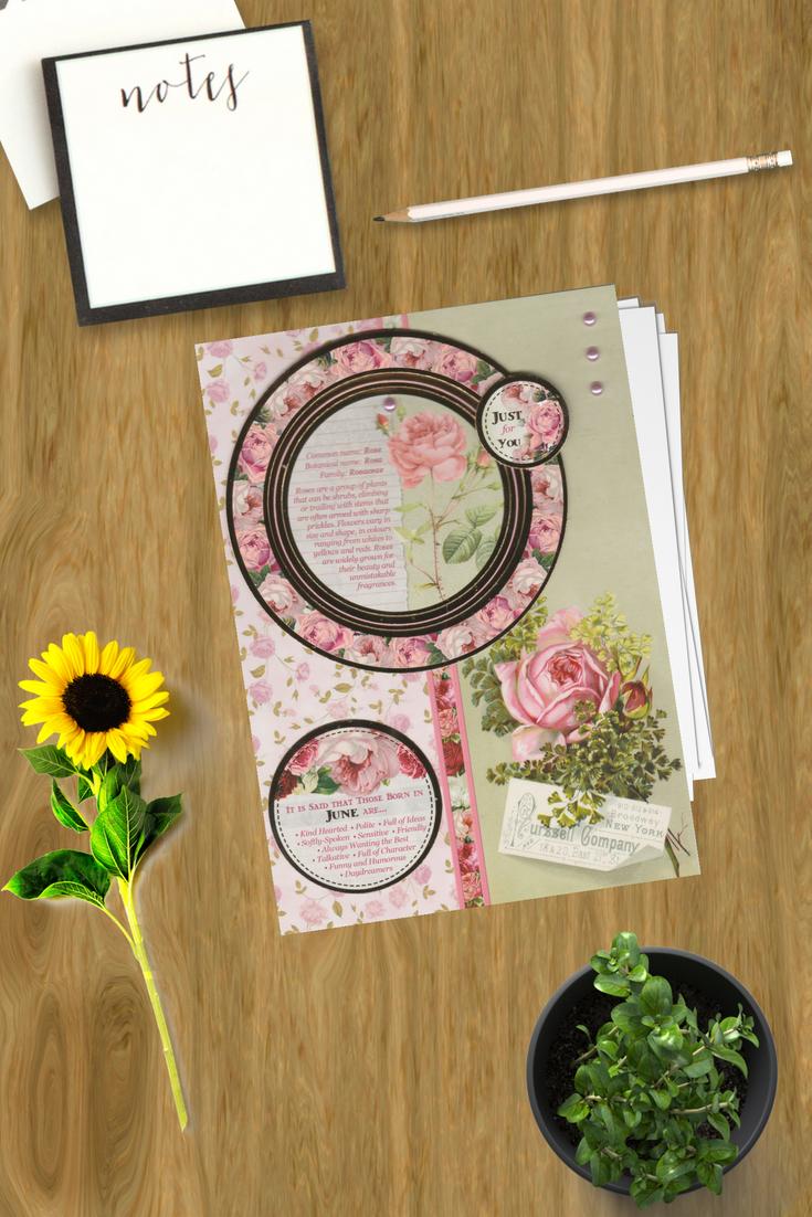 Summer Birthday Cards Handmade June July August Flowers Rose