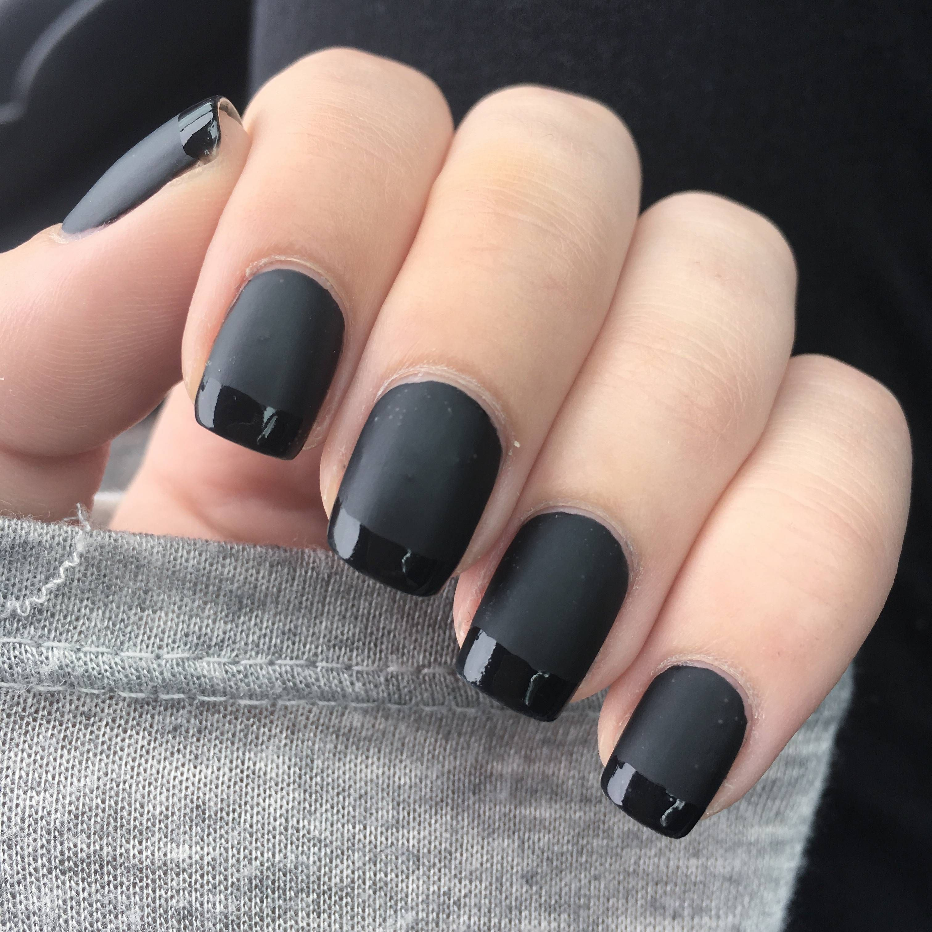 Black French Manicure Nails Matte Black Winter Wedding Matte Gel