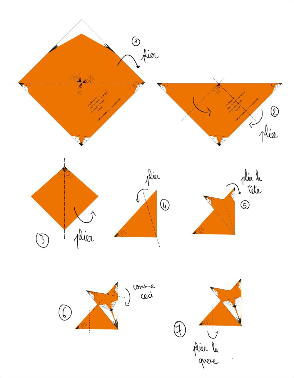 Diy origami fox tutorial free origami pinterest origami diy origami an - Origami simple enfant ...